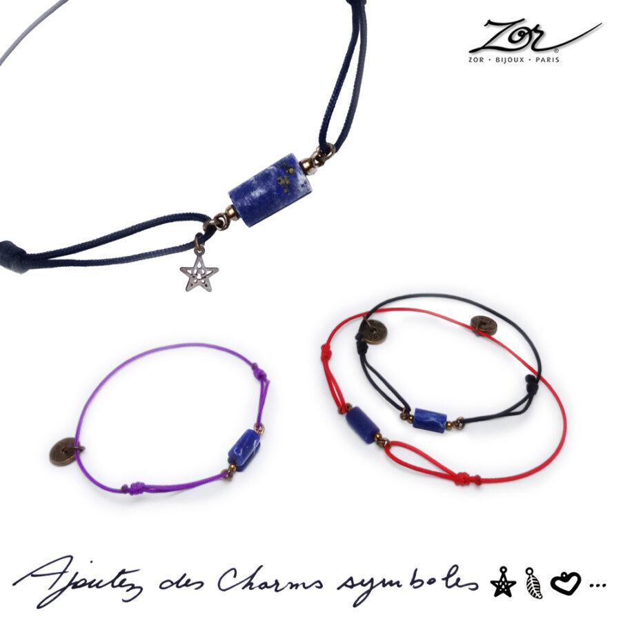 Bracelet Homme, pierre bleue céleste, lapis-lazuli sur cordon. Bijou masculin à symbole porte-bonheur, précieux. Zor Paris 3