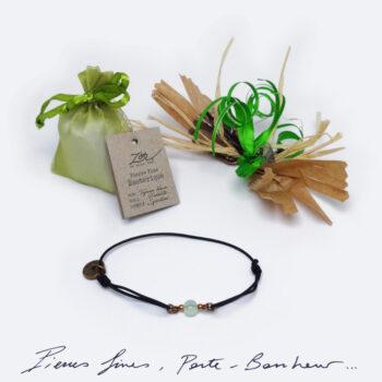 Bracelet Homme, pierre topaze bleue sur cordon. Bijou masculin à symbole porte-bonheur, précieux. Zor Paris 1
