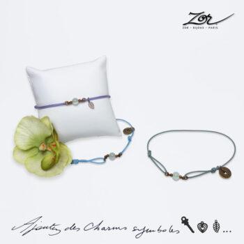 Bracelet Homme, pierre topaze bleue sur cordon. Bijou masculin à symbole porte-bonheur, précieux. Zor Paris 3