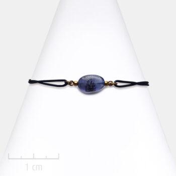 Bracelet Homme bleu, pierre iolite sur cordon. Bijou masculin à symbole porte-bonheur, précieux. Zor Paris 3