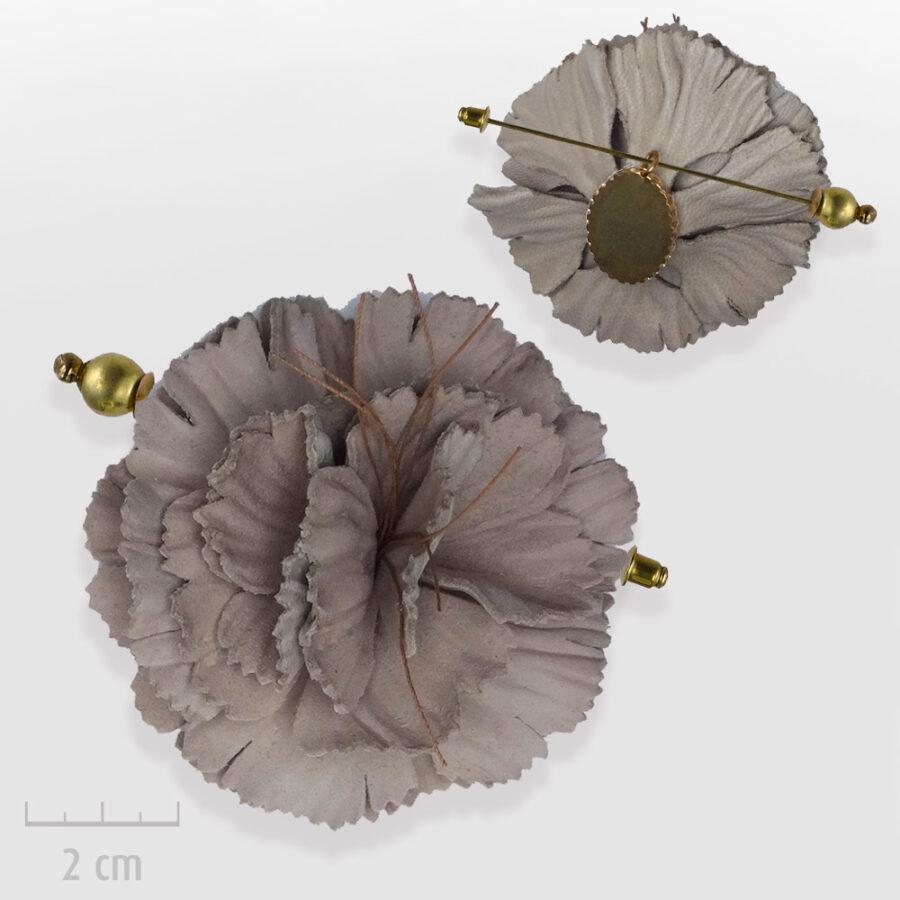 Broche Bohème de chapeau ou habit, modulable en pendentif. Grande fleur de cuir marron glacé. Bijou fabriqué en France, Zor Paris 2