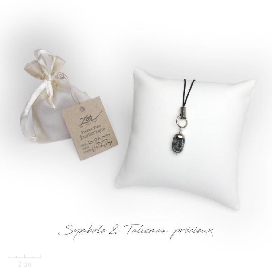 Cadeau porte-bonheur, symbole et lithothérapie: quartz tourmaline, pierre naturelle à petit prix. Précieux bijou Zor ésotérique