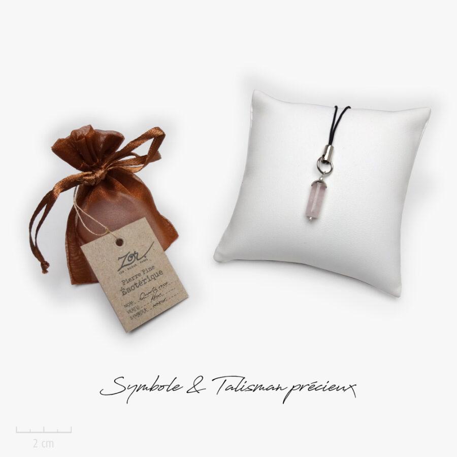 Cadeau porte-bonheur, symbole et lithothérapie: bâton de quartz rose, pierre naturelle à petit prix. Précieux bijou Zor ésotérique