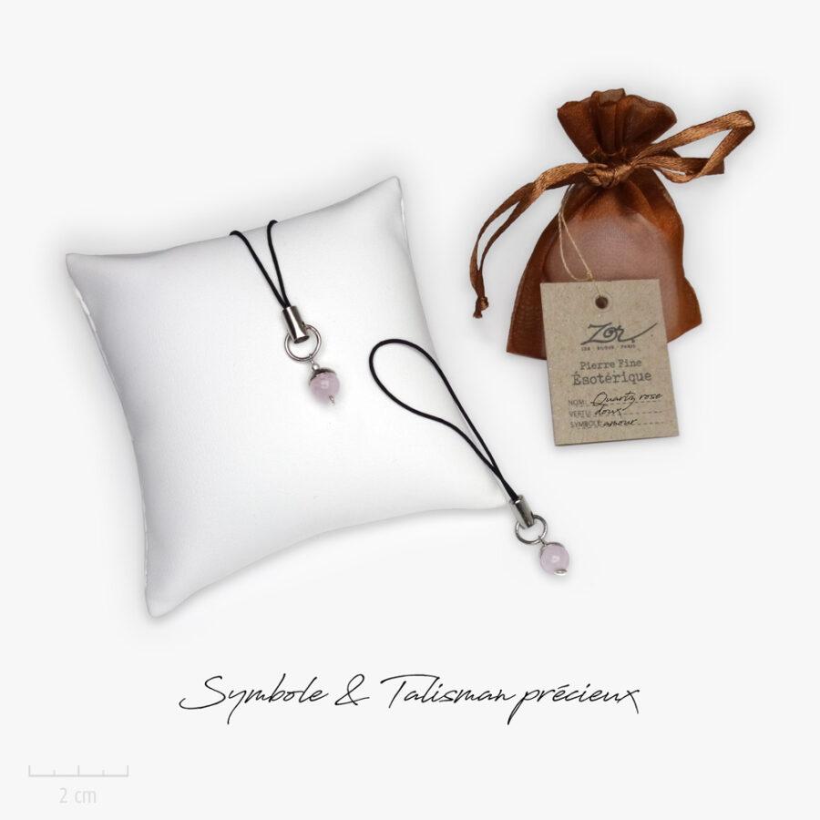 Cadeau porte-bonheur, symbole et lithothérapie: perle de quartz rose, pierre naturelle à petit prix. Précieux bijou Zor ésotérique