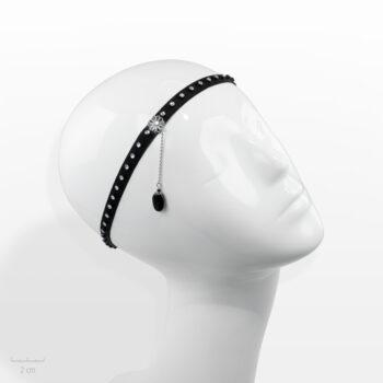Accessoire pour cheveux Moderne. Bandeau élastique noir, strass cristal. Bijou de tête glamour et rock fantaisie de Zor Paris 1