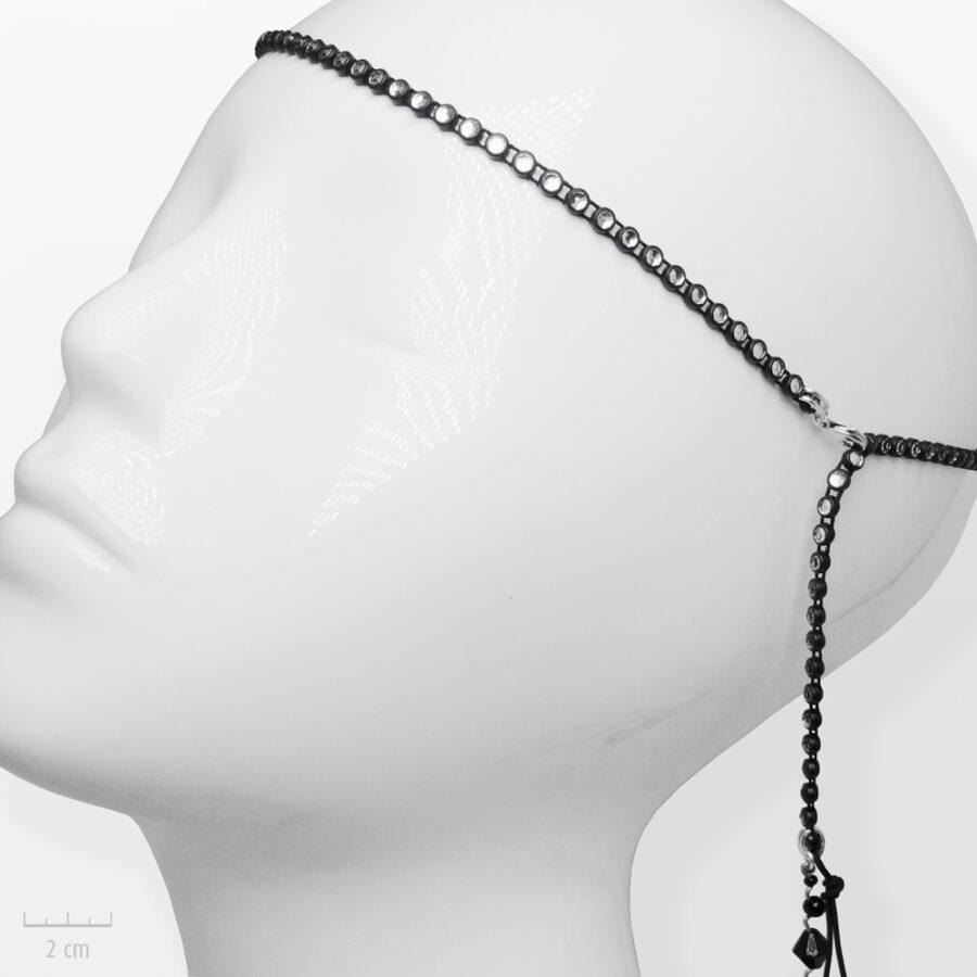 Accessoire pour cheveux Moderne. Bandeau argenté, noir et strass cristal. Bijou de tête glamour et rock fantaisie de Zor Paris 2