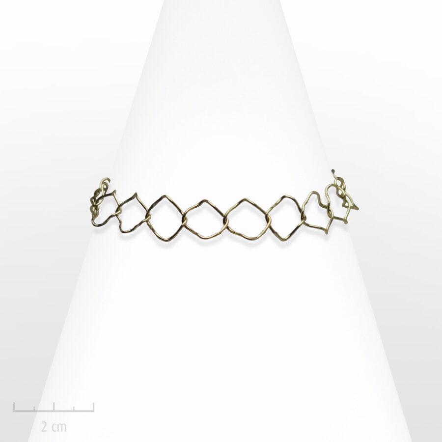 Bracelet Moderne fildefériste, bijou fantaisie fabriqué en France. Art contemporain, création fil-de-fériste, bronze doré. Zor Paris 2