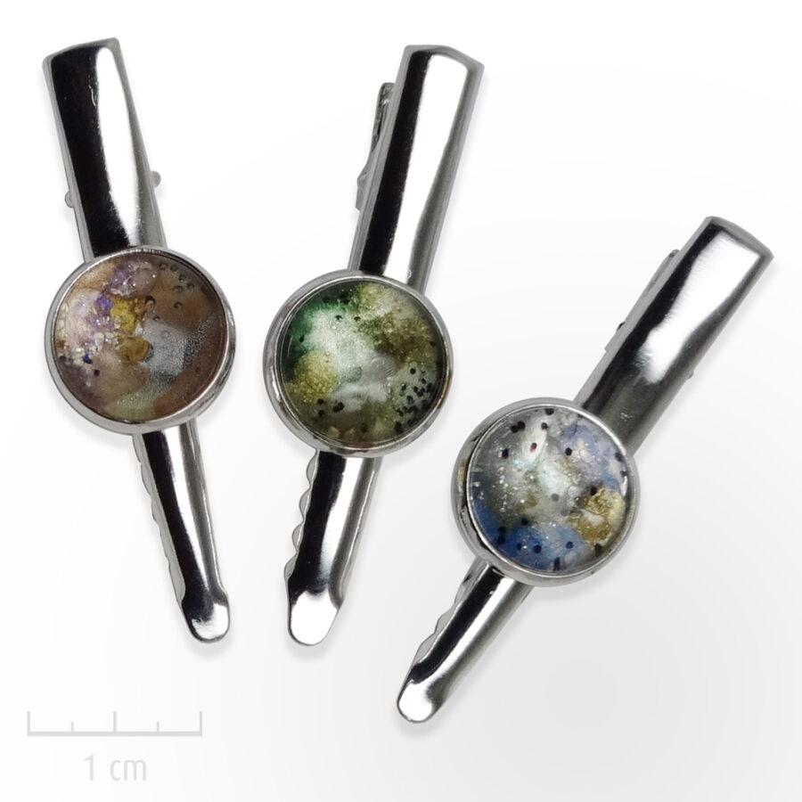 Pince à tout Planète bleue, verte, rose: bijou astral pour veste, cravate, broche, cheveux, chapeau. Zor Paris 2