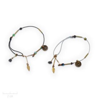 Bracelet Ethnique à cordon gris ou noir. Pierre hématite, tendance antique, bijou de créateur. Zor Paris 1