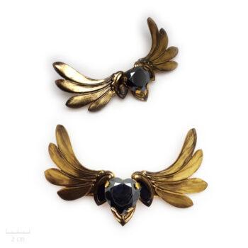 Accessoire cheveux bohème Hermes Cupidon. Grande barrette ailes or vintage et coeur noir en cristal Swarovski. Bijou Zor
