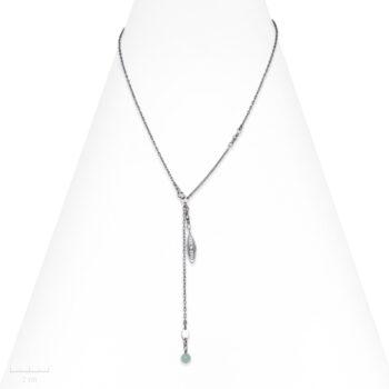 Collier Ethnique, pendentif filigrane sur chaine argent et pierre topaze. Bijou bleu vert de Zor Paris fabrication France