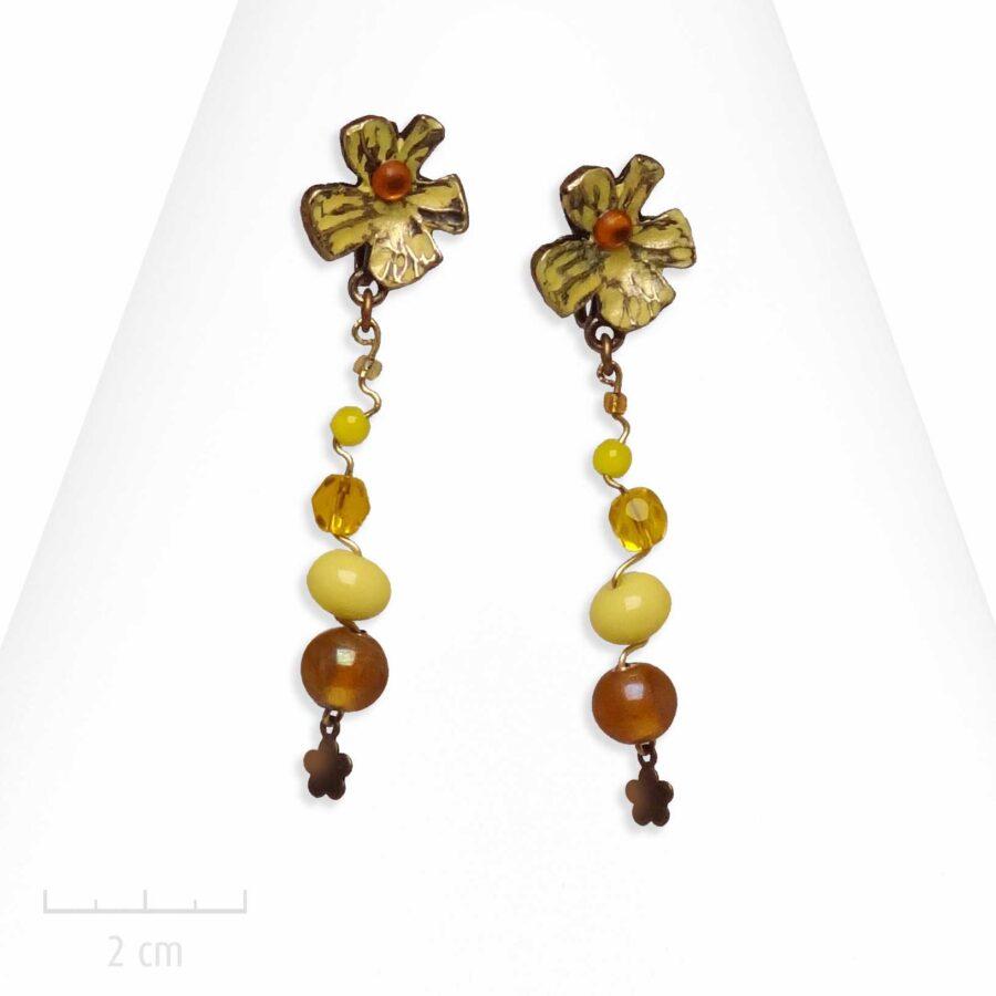 Boucle d'oreille ludique à clip. Fleur jaune et pendant de perle. Bijou fantaisie Zor Paris 1